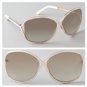 New TOM FORD Ivory Oversized Sunglasses